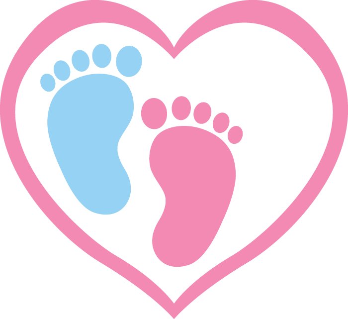 Blue footprint and pink footprint inside a heart shape